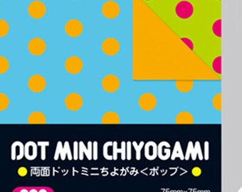 Japanese Double-Sided Origami Paper - Pop Polka Dots - 7.5cm (3 inches)
