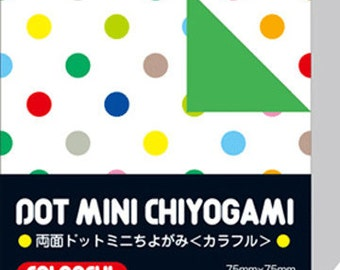 Japanese Double-Sided Origami Paper - Colourful Polka Dots - 7.5cm (3 inches)