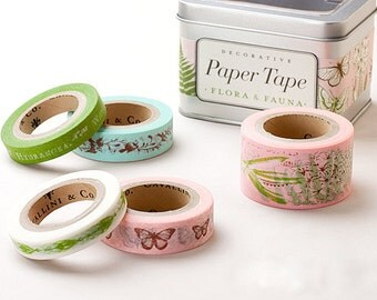 Cavallini & Co. Paper Masking Tape - Flora and Fauna - Set 5 with Steel Tin