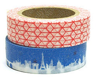 Decollections Masking Tape - Red Geometric - single roll - Misty