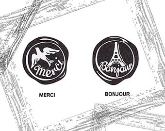 French Merci & Bonjour Wax Seal Rubber Stamps - Set 2