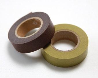 mt Washi Masking Tape - Chocolate & Bracken - Set 2 (15m rolls)