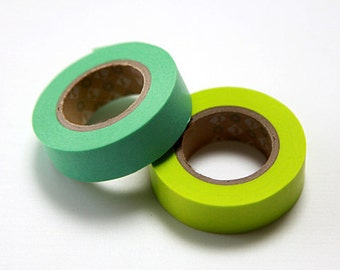 mt Washi Masking Tape - Mint & Lime Green - Set 2 (15m rolls)