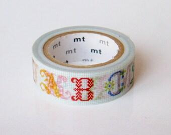 mt Washi Masking Tape - Cross Stitch ABCs (A-M) - Limited Edition