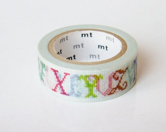 mt Washi Masking Tape - Cross Stitch ABCs (N-Z) - Limited Edition
