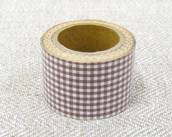 Classiky Fabric Masking Tape - Brown Gingham Check - 30mm Wide