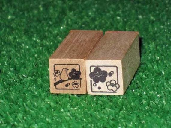 Plum Blossom & Nightingale Rubber Stamps - Kawaii Japanese Zakka - Set 2