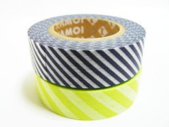 mt Washi Masking Tape - Grey & Lime Green Stripe - Set 2