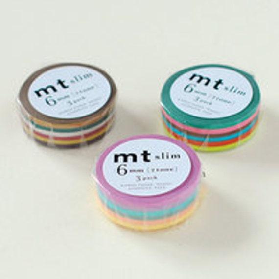 mt Washi Masking Tape - 2 Tone - Slim - Set 3