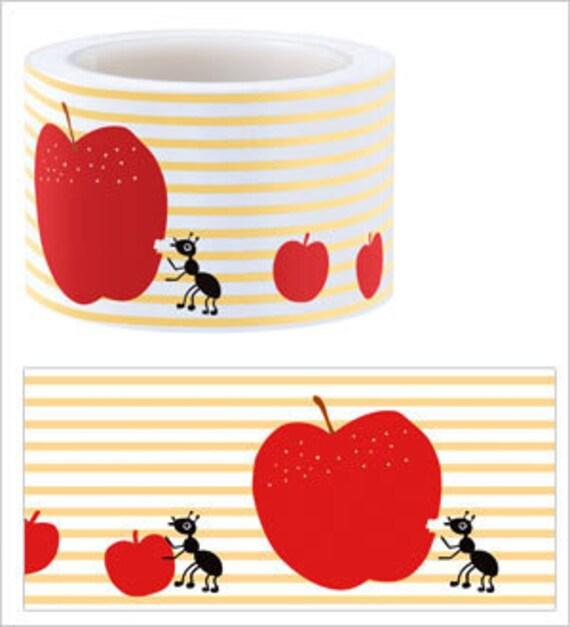 Funtape Masking Tape - Apple & Ant Label - 30mm Wide