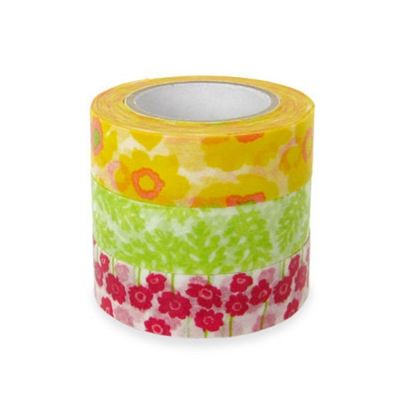 Colte Washi Masking Tape - Poppy Green - Set 3 - Discontinued