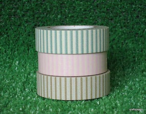 Japanese Washi Masking Tape - Pink Green & Brown Stripes - Eco Sale - Set 3