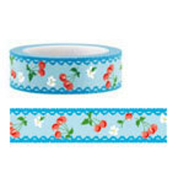 SALE - Funtape Masking Tape - Blue Lace Cherry - 25% off