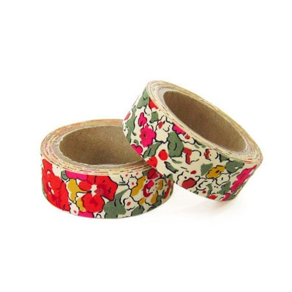 Liberty of London Fabric Masking Tape - Claire Aude in Red - Set 2