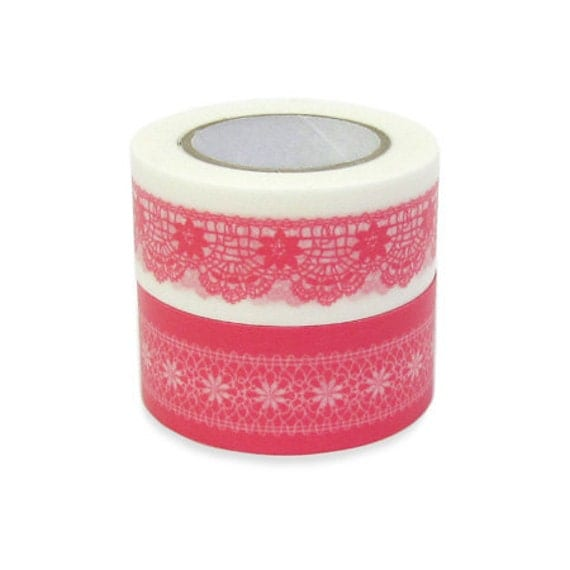 Colte Washi Masking Tape - Lace Pink - Wide Set 2