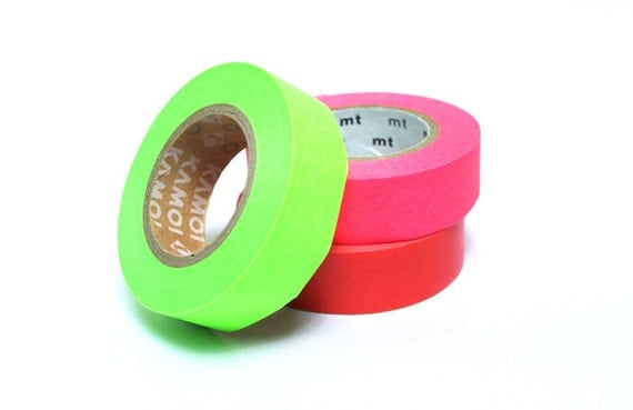 mt Washi Masking Tape - Shocking Pink, Red & Green - Set 3 - Neon (15m rolls)