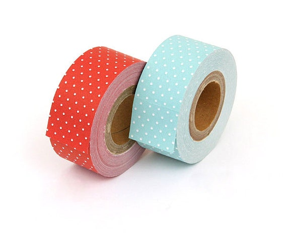 Cartonnage Tape - Red & Pale Blue Polka Dots - 25mm Wide