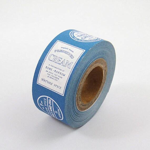 SALE - Cartonnage Tape - Blue Vintage Label - 25mm Wide - 25% off