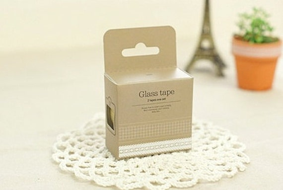 Nuage Glass Tape - Grid & Lace - Set 2 Decorative Clear Tapes