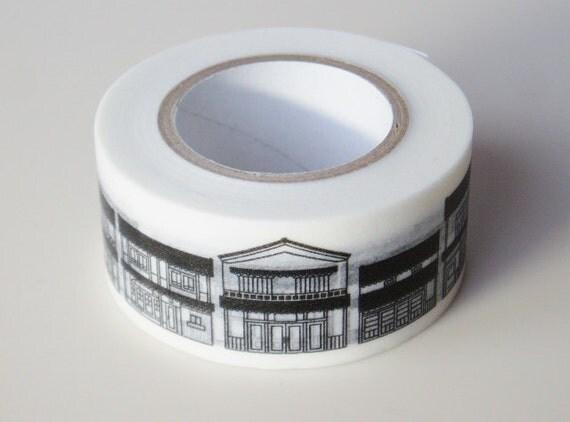 Kurashiki Washi Masking Tape - Town Houses - Limited Edition (15m roll)