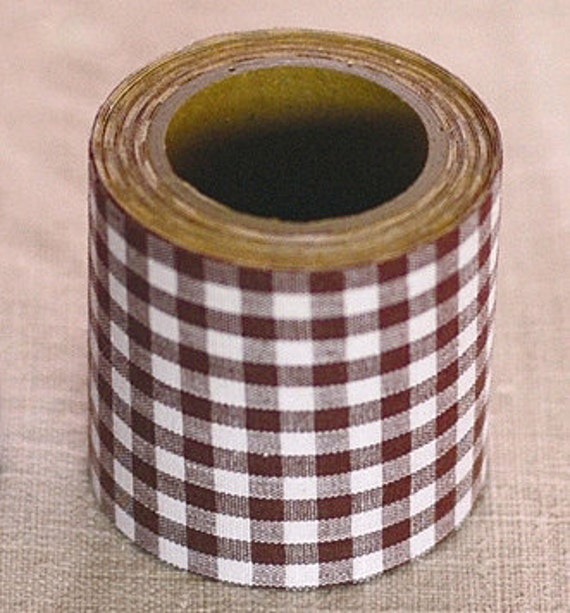 Kurashiki Fabric Masking Tape - Brown Gingham Check - 45mm Wide