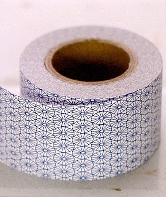 Kurashiki Craft Paper Tape - Blue Flowers Mosaic - 30mm Wide