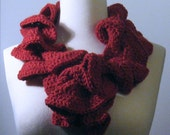 Rich Red Ruffled Scarf - Cashmere, Merino, and Microfiber