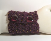 Crocheted and Beaded Aubergine Cuff - Reserved