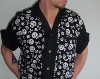 Men's Rockabilly Shirt Jac Skulls