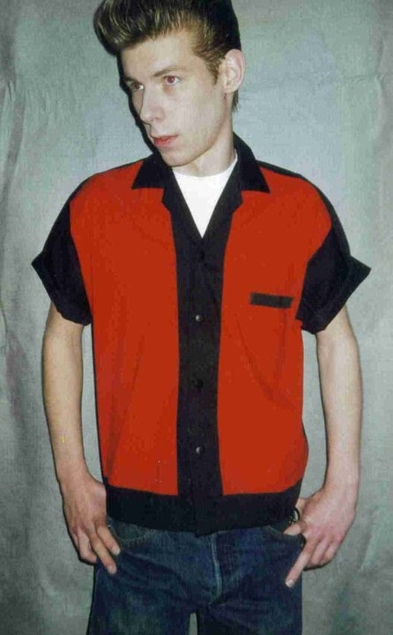 Men S Rockabilly Shirt Jac Red And Black
