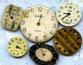 vintage 6 watch faces to use in your ASSEMBLAGE mixed media JEWELRY or in any way you woud want it to CHARM lot  Sept 09