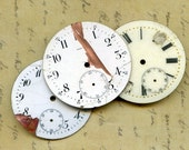 vintage 3 pocket watch faces to use in your ASSEMBLAGE mixed media JEWELRY or in any way you want  3-35