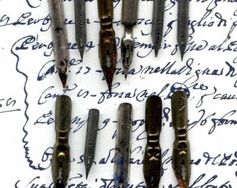 10 vintage pen nibs from various European countries