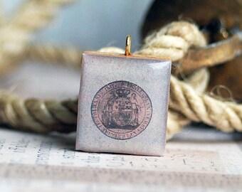 GO POSTAL...    vintage postal stamp on a Scrabble pendant... x 211