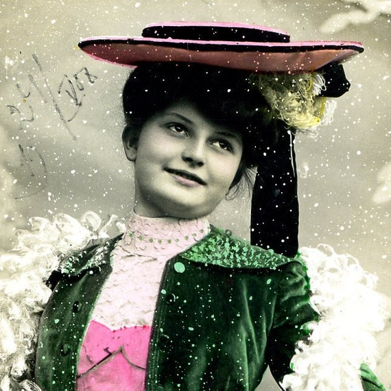 Vintage postcard of a young woman... Jan 24