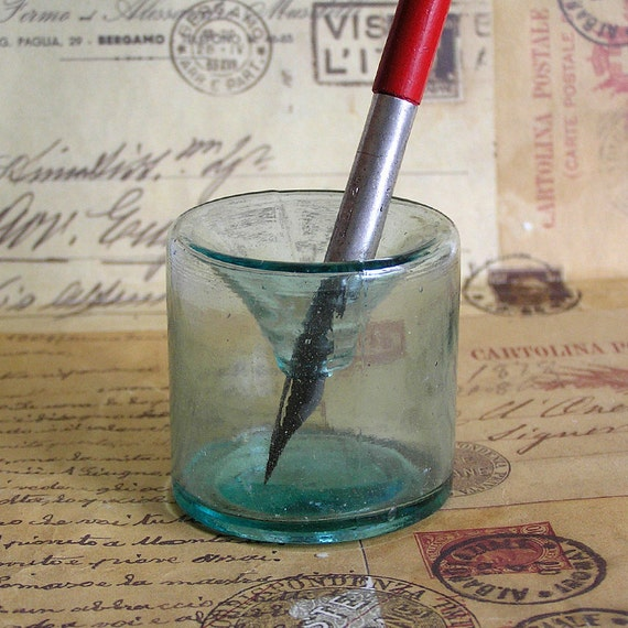 vintage inkwell from a little one room school...  to use in your art homedecorating assemblage photography prop Mar 24