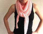 Hand Knit Pink Wrap/Scarf with beaded edge