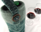 Shades of Teal and Green Hand Knit and Felted BYOB Wine Tote Bag