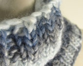 Hand Knit Pale Blue to Denim Blue Winter Cowl for Men and Women
