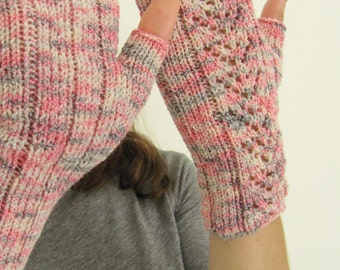 Pink, Ivory and Grey Hand Knit Fingerless Texting Gloves with Lace