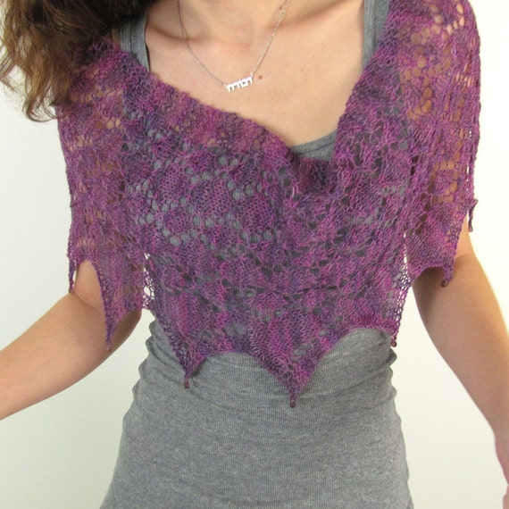 Shades of Purple Diamond Lace Cowl Poncho