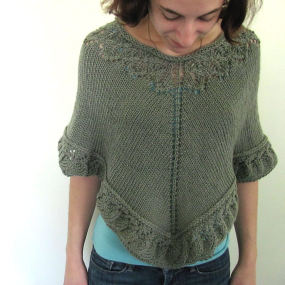 Sage Olive Green Hand Knit Poncho with Leaf Lace at Neck and Hem