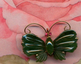 14K Gold with Jade and Ruby Vintage Butterfly Brooch