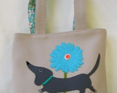 Felt Doggie Bag Purse with Dachshund Dog and Flowers