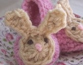 Pink Floppy Bunny Baby Slippers 6 - 12 months