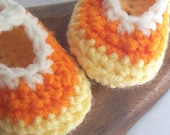 Crochet Candy Corn Baby Booties - Crochet Mary Jane Booties - Orange, Yellow and White Baby Girl Shoes in  Size  6 - 12 months - puddintoes