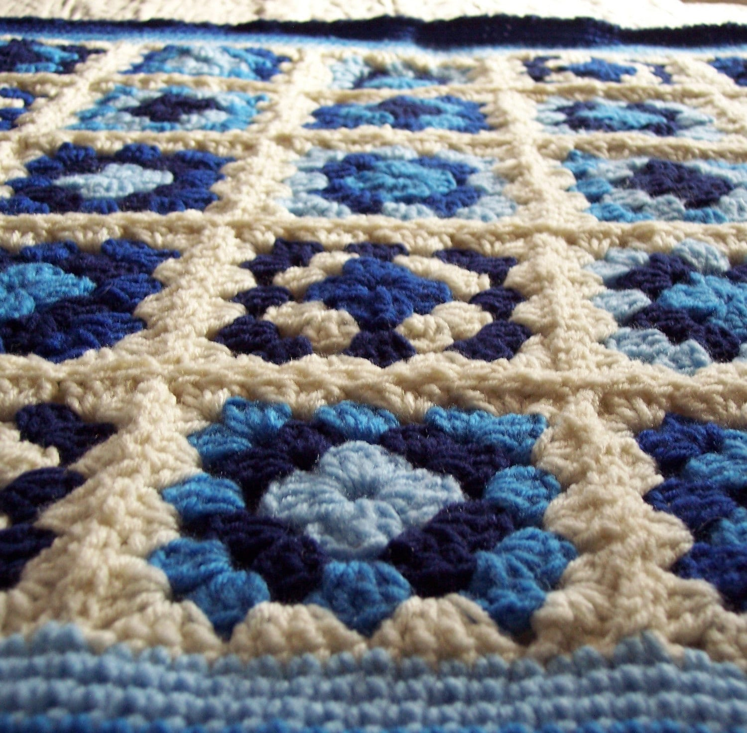Crochet Baby Blanket Granny Squares Vintage By