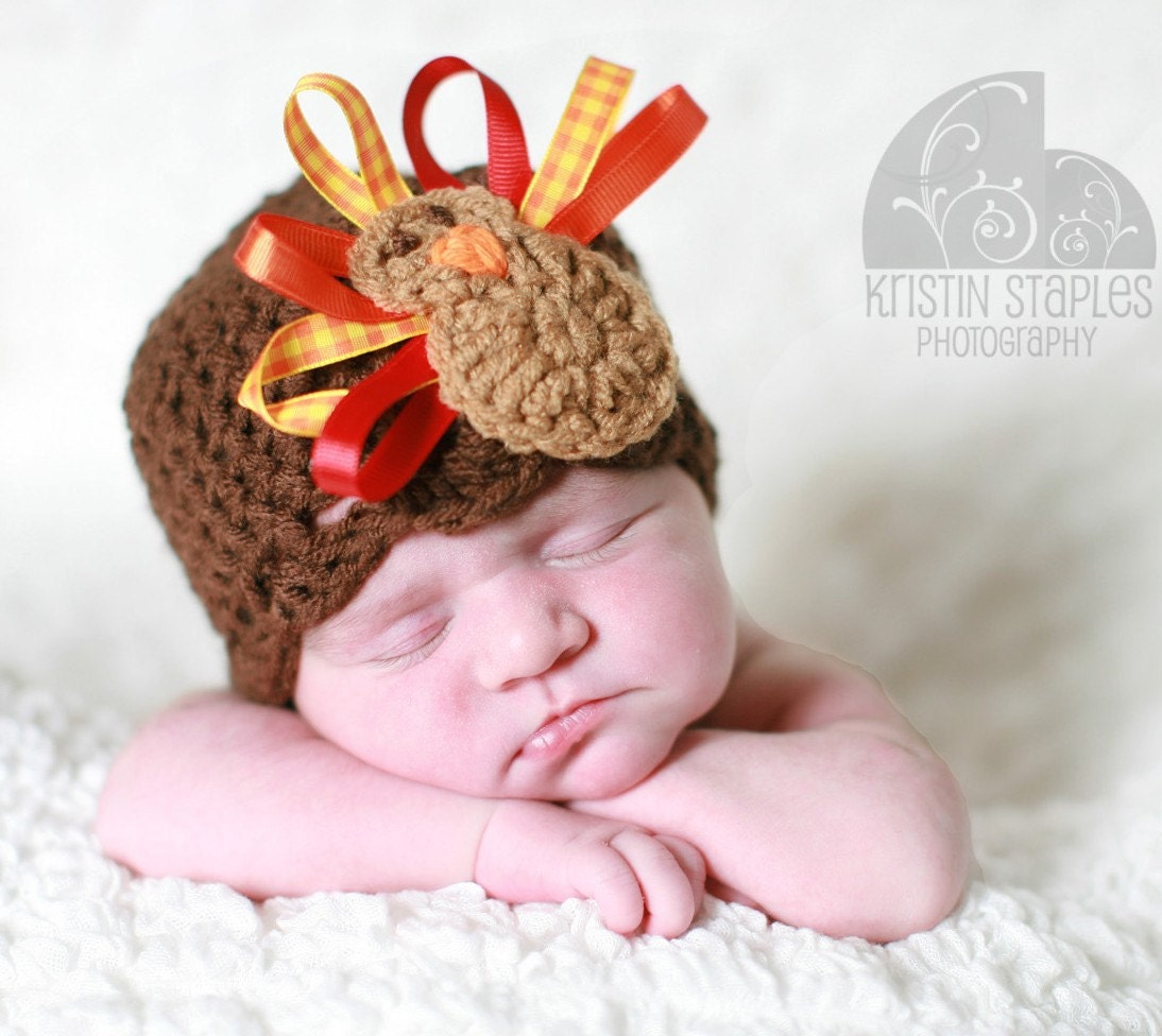 Crochet Turkey Hat Thanksgiving Beanie with Ribbon Feathers