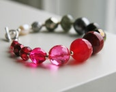 Hot Pink, Wine Red, Ivory and Silver Grey Bracelet Sterling Silver. Autumn Wedding