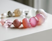 Dusty Rose Pink Ivory Grey Bracelet - Sterling Silver